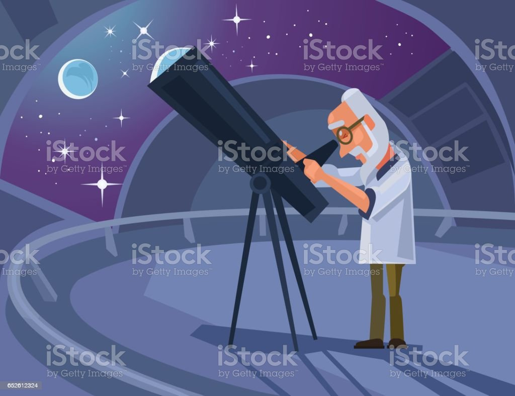 Caractère de savant astronome regardant à travers le télescope - Illustration vectorielle