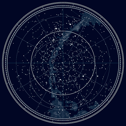 Astronomical Celestial Map of The Northern Hemisphere (Black Ink version)