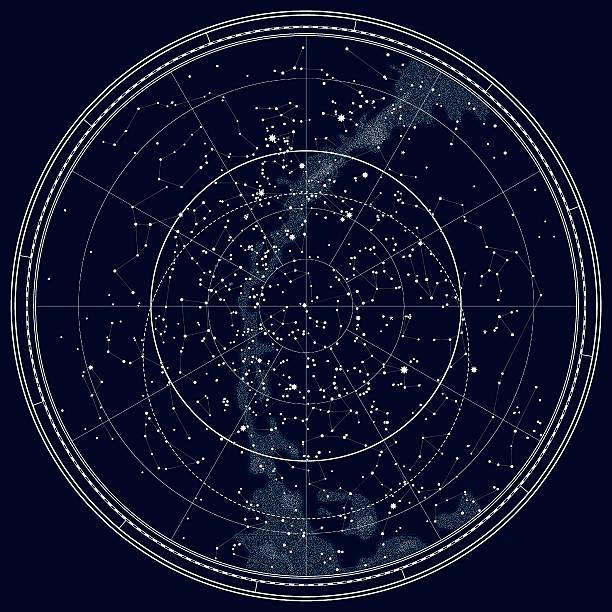 астрономическими celestial карта северное полушарие (черный чернила версия - духовность stock illustrations