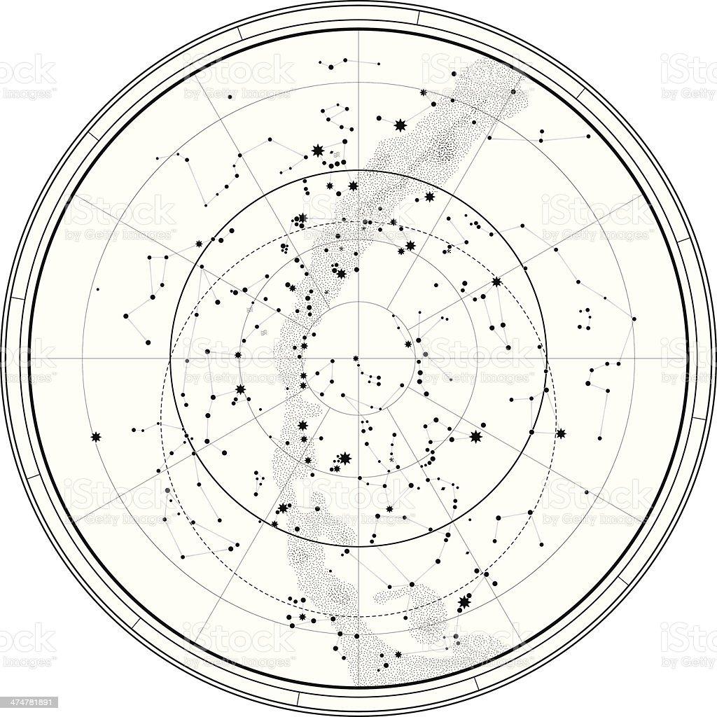 Celestial mapa astronômico - ilustração de arte em vetor