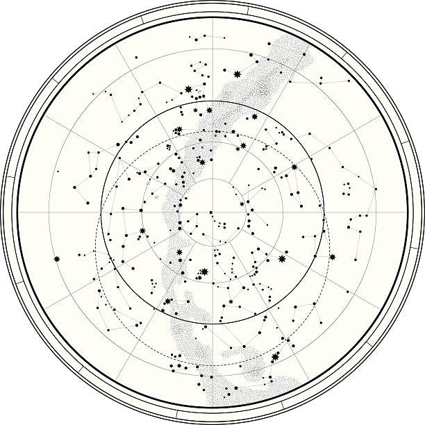 астрономических celestial карта - астрономия stock illustrations