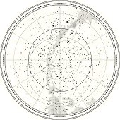Astronomical Celestial Map of Northern Hemisphere (detailed outline Chart EPS-10)
