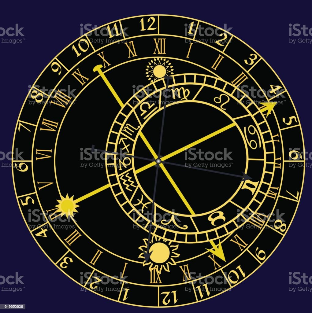Astronomical clock - vector vector art illustration