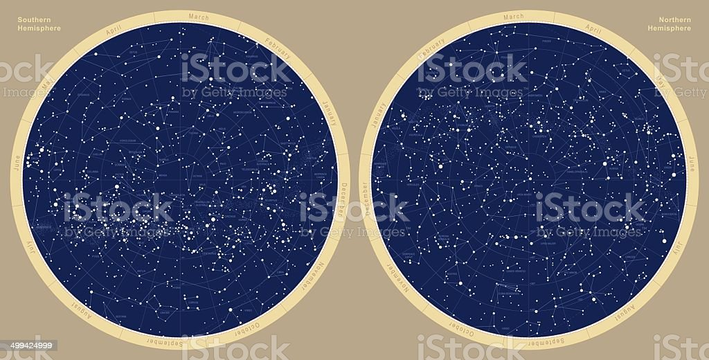 Astronomical constellation map, Southern and Northern Hemispheres. vector art illustration