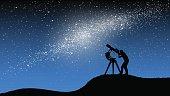 Man observing galaxy trough telescope.