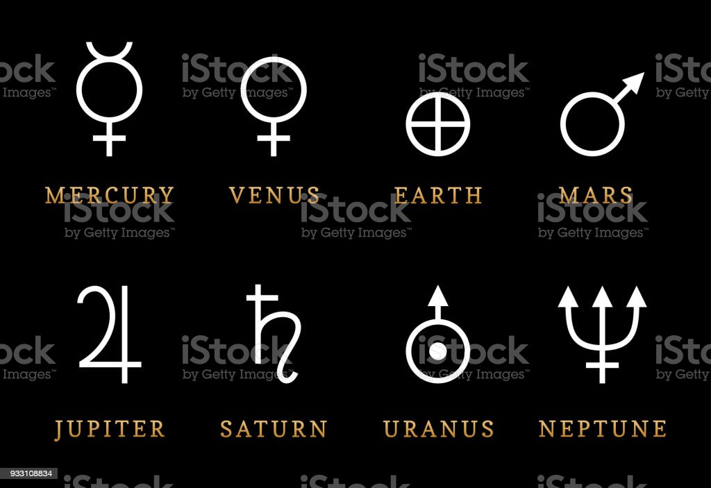 Astronomical Symbols Illustration Of Eight Planets Signs Of Solar