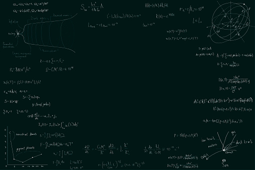 Astronomy and astrophysics, formulas for physics mathematics and astronomy on a dark green chalk Board. Inflation and the big Bang theory. Copy space in the center, space for your design and text