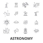 Astronomy, astrology, space, star, telescope, galaxy, planet, moon, science line icons. Editable strokes. Flat design vector illustration symbol concept. Linear signs isolated