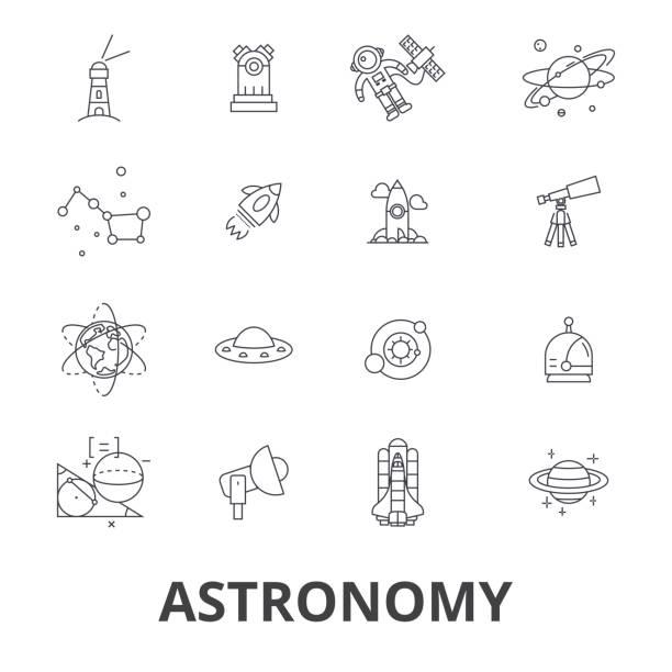 astronomie, astrologie, raum, star, teleskop, galaxie, planet, mond, wissenschaft linie symbole. editierbare striche. flaches design vektor illustration symbol konzept. lineare zeichen isoliert - sternwarte stock-grafiken, -clipart, -cartoons und -symbole