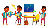 Astronomy, Astrophysics Student Vector Cartoon Characters Set