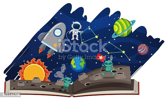 istock Astronomy book with astronaut and aliens 871144706