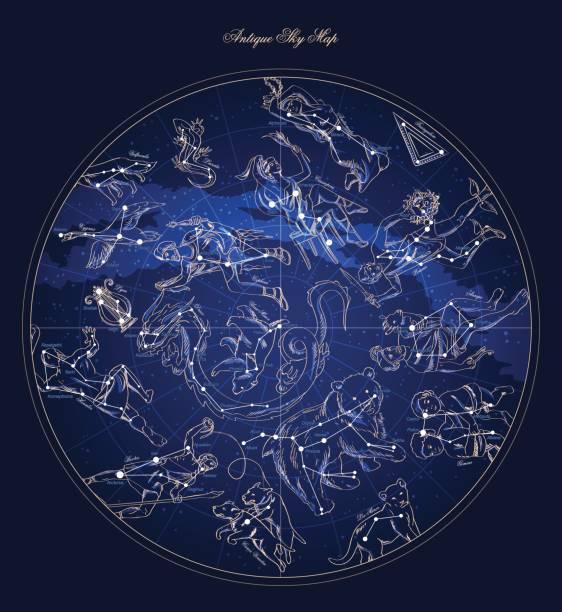 ilustrações de stock, clip art, desenhos animados e ícones de astronomy characters sky map with constellation and star names vector - mapa das estrelas