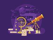 Astronomy design flat. Retro science, astrology instrument, star astronomical, vector illustration