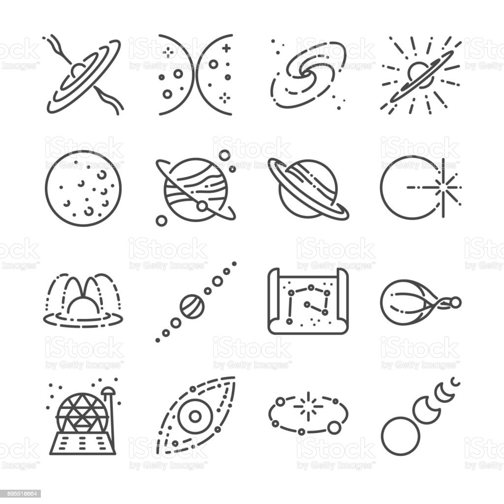 Astronomy icon set. Included the icons as stars, space, universe, galaxies, planet, solar system and more. vector art illustration