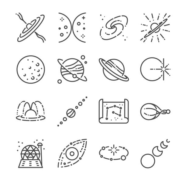 illustrazioni stock, clip art, cartoni animati e icone di tendenza di astronomy icon set. included the icons as stars, space, universe, galaxies, planet, solar system and more. - big bang