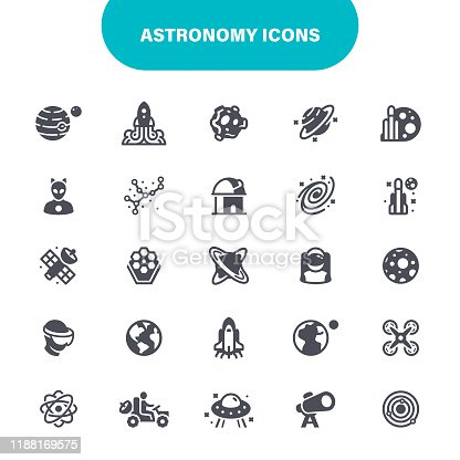 Astronomy, Space, Black Hole, Saturn, Constellation, Planet - Space, USA, Icon Set