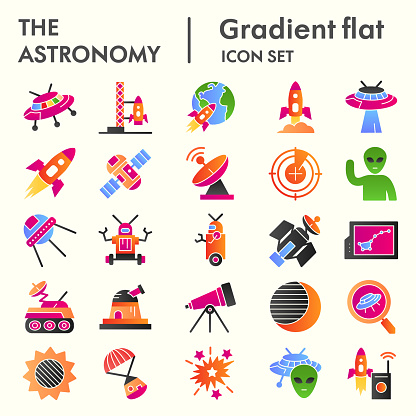 Astronomy line icon set. Universe objects collection, vector sketches, logo illustrations, web symbols, outline pictograms package isolated on white background, eps 10.
