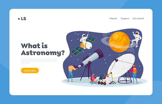Astronomy Science Landing Page Template. Characters Watch on Stars and Planets at Telescope, Studying Space, Cosmos