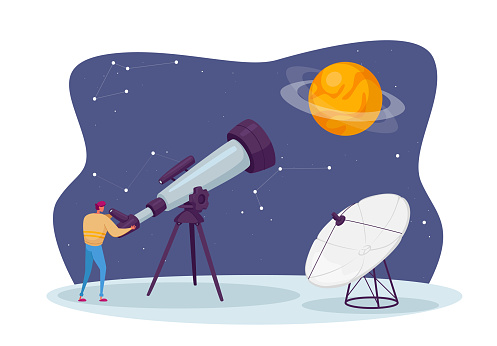 Astronomy Science, Male Character Watch on Space at Telescope Studying Cosmos. Universe Exploration, Scientific Investigation, Education Concept. Starry Sky Constellations. Cartoon Vector Illustration