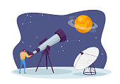 istock Astronomy Science, Male Character Watching on Space at Telescope Studying Cosmos. Universe Exploration, Investigation 1285857827