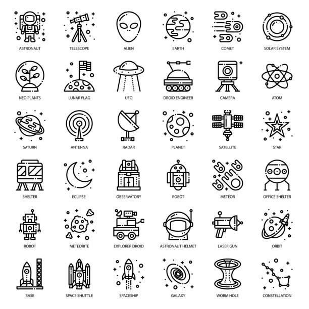 astronomie - weltall stock-grafiken, -clipart, -cartoons und -symbole