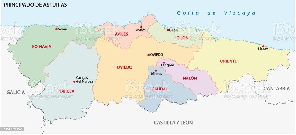 Mapa Politico De Asturias.Ilustracion De Mapa Administrativo Y Politico De Asturias Y