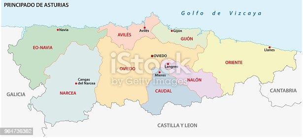 Mapa Politico De Asturias.ᐈ Imagen De Mapa Administrativo Y Politico De Asturias