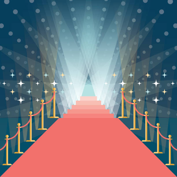 asymmetric red carpet background with staircase in the end vector art illustration