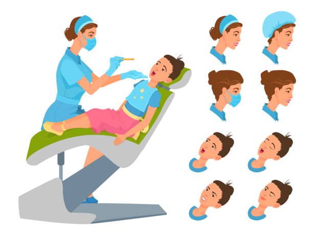 At a reception at pediatrician, dentist. Sore throat health check-up. Medical worker and girl sitting in front each other. Young woman smiling. Cartoon colorful vector illustration isolated on white. surgical cap stock illustrations