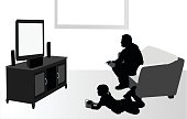 A vector silhouette illustration of young people playing video games. A young girl and an older man sit and lay in front of a tv.