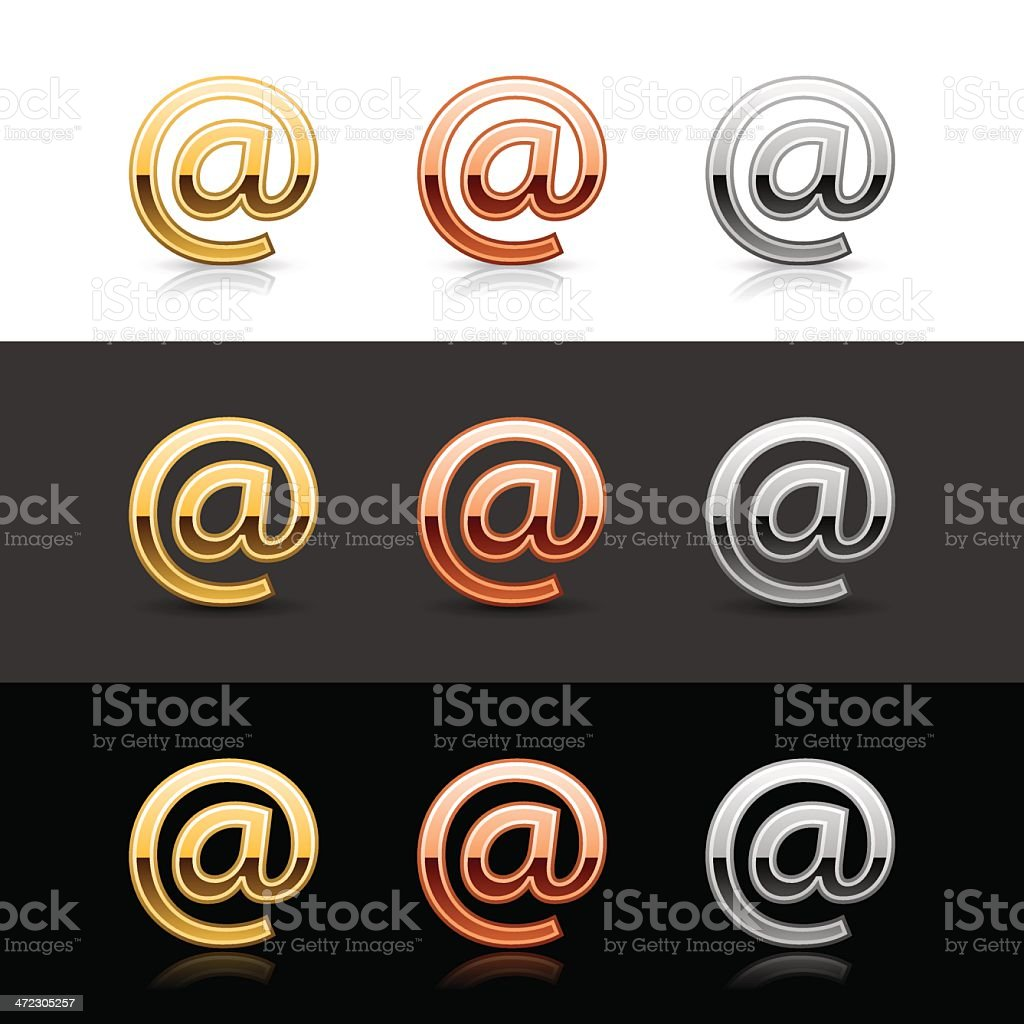 At icon metal sign gold bronze silver web button royalty-free at icon metal sign gold bronze silver web button stock vector art & more images of 'at' symbol