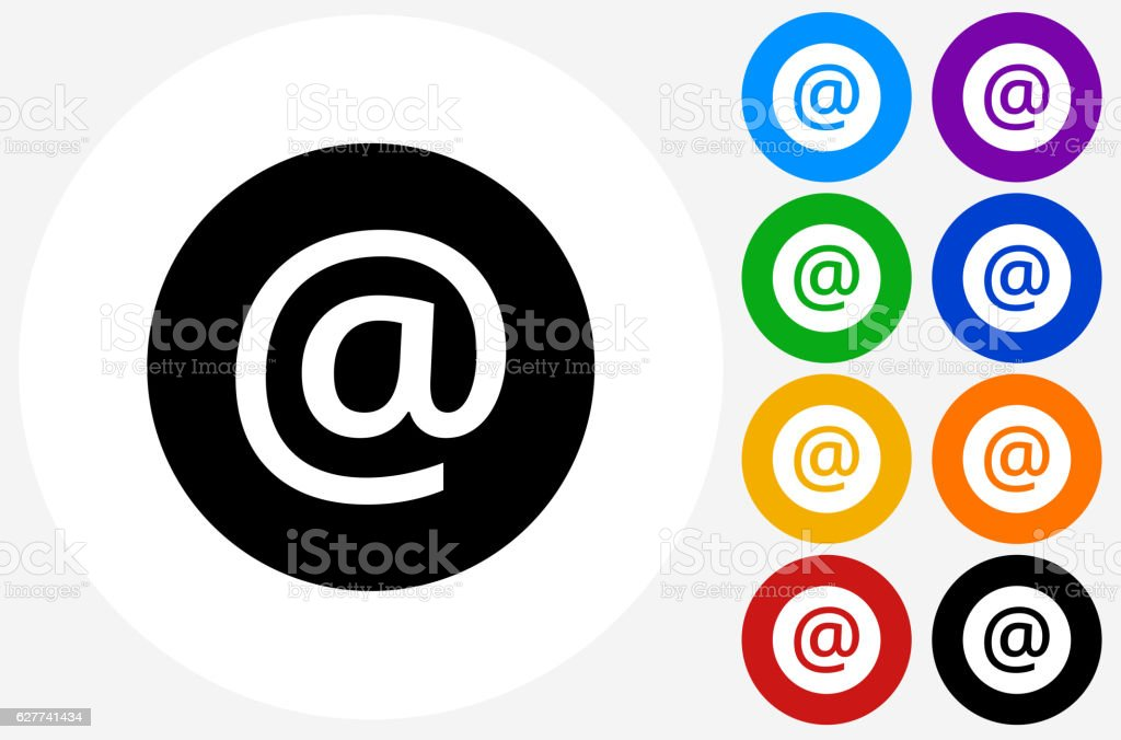 At Sign Icon on Flat Color Circle Buttons - Illustration vectorielle