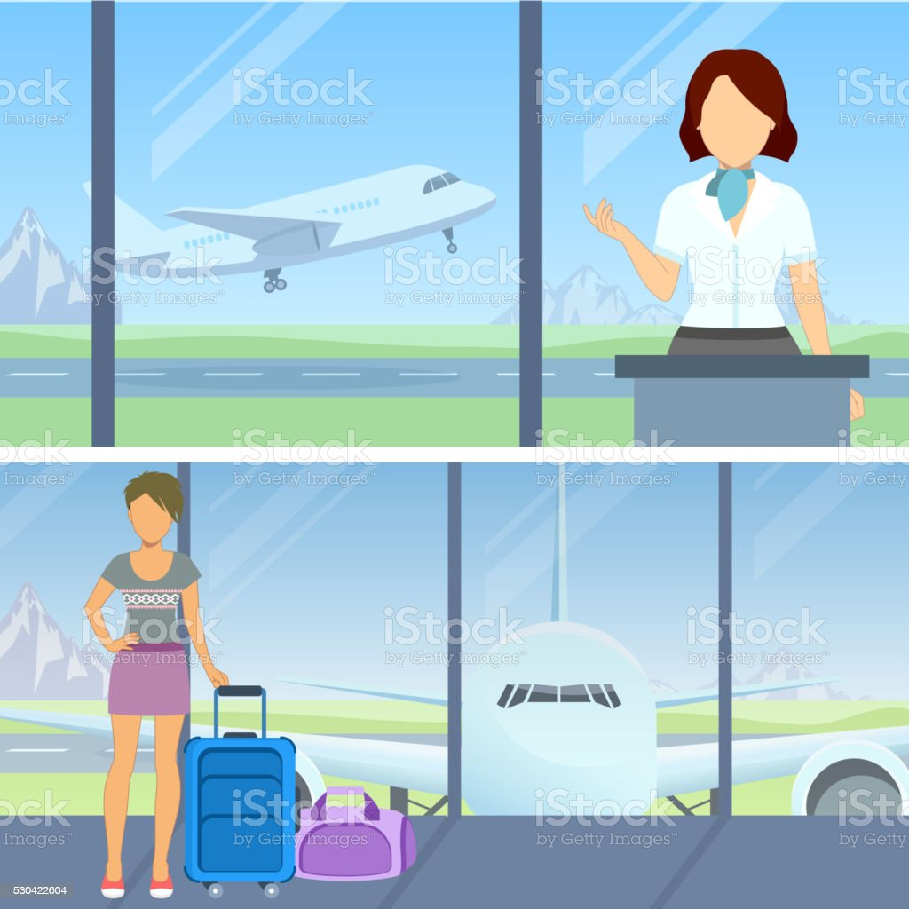 At the airport vector art illustration