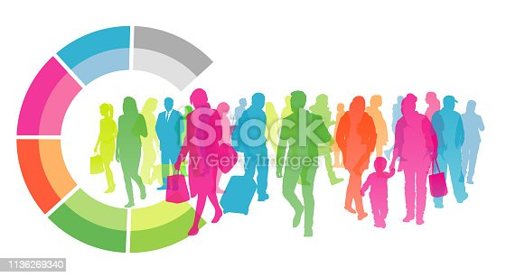 Large crowd of various people with geometric shape