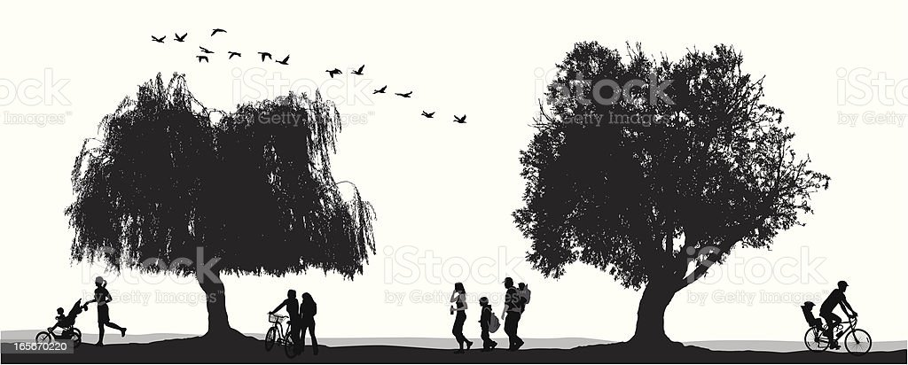 At The Park Vector Silhouette royalty-free stock vector art