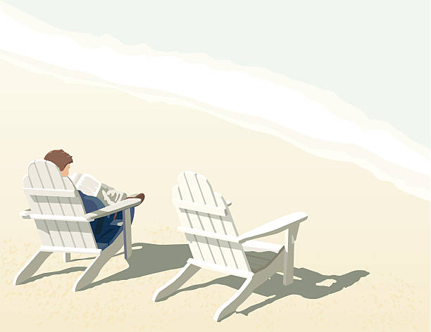 At the Shore Adirondack chairs on a sandy beach by the waterside. adirondack chair stock illustrations