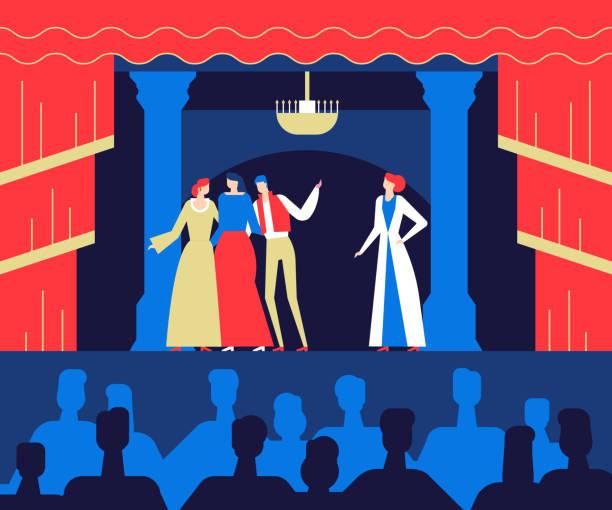 stockillustraties, clipart, cartoons en iconen met in het theater - plat ontwerp stijl kleurrijke afbeelding - acteur