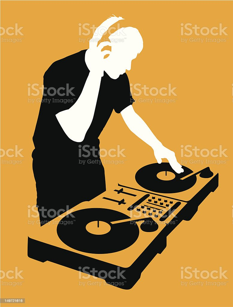 DJ at Turntable vector art illustration