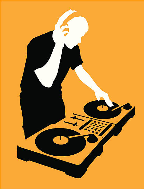 stockillustraties, clipart, cartoons en iconen met dj at turntable - dj