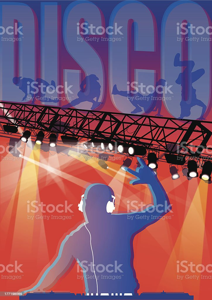 DJ at Turntable royalty-free stock vector art