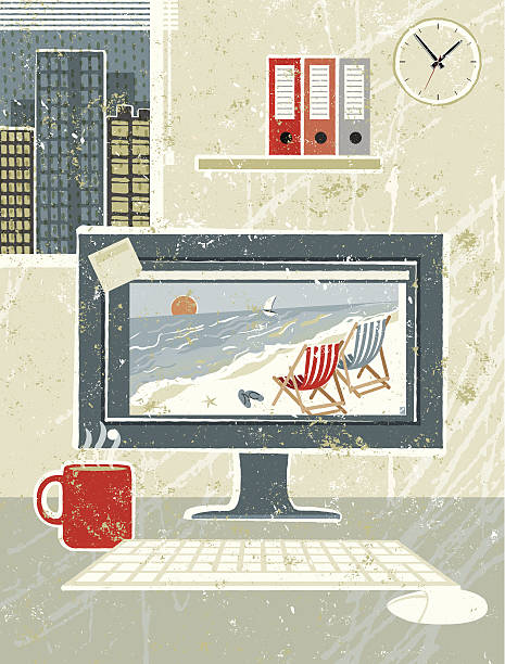 at work, computer in the office showing beach scene - travel agent stock illustrations, clip art, cartoons, & icons
