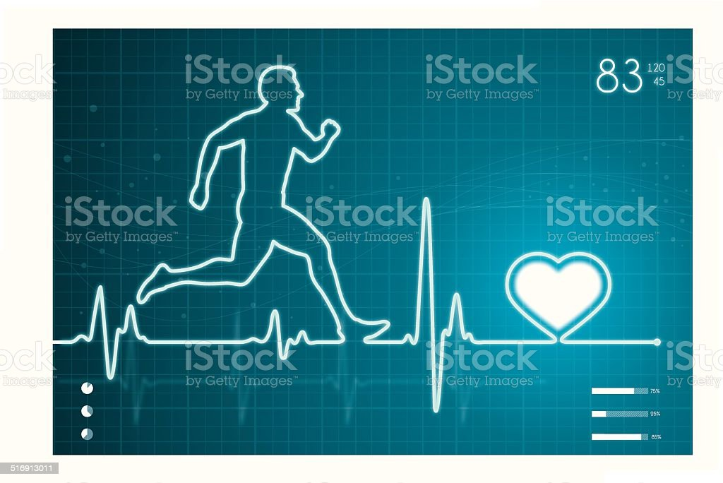 Athelete and heart with ECG monitor vector art illustration