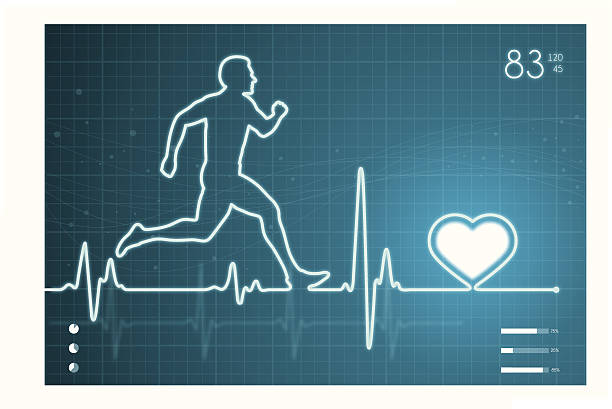 athelete and heart with ecg monitor - sports medicine stock illustrations, clip art, cartoons, & icons