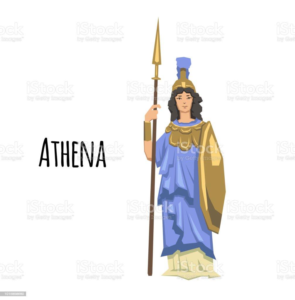 Athena, ancient Greek goddess of Wisdom, War, and Useful Arts. Mythology. Flat vector illustration. Isolated on white background. vector art illustration