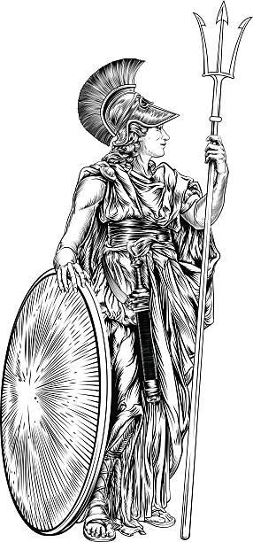 stockillustraties, clipart, cartoons en iconen met athena greek goddess - athens