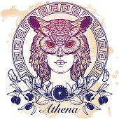 Athena sketch isolated on grunge background