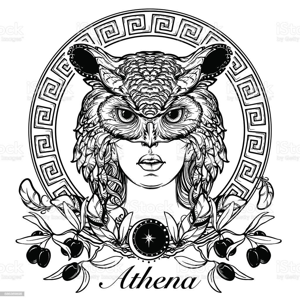 Athena sketch isolated on white background vector art illustration