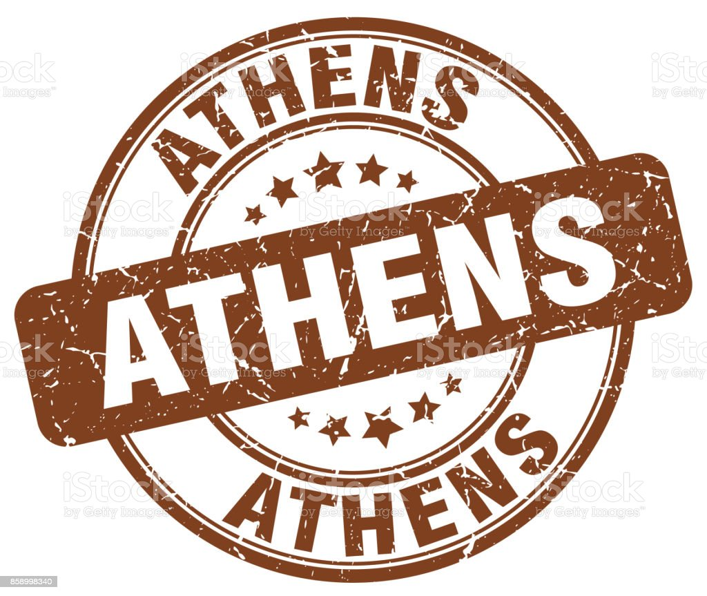 Athens brown grunge round vintage rubber stamp vector art illustration