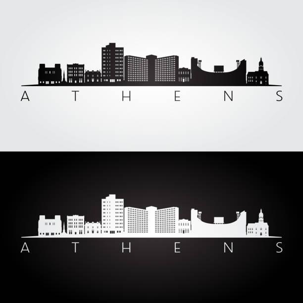 stockillustraties, clipart, cartoons en iconen met athene, georgia usa skyline en monumenten silhouet, zwart-wit design, vector illustratie. - athens