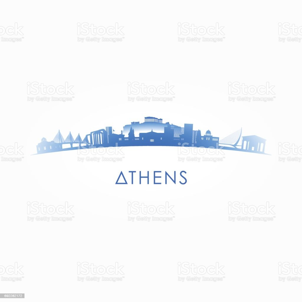 Athens, Greece skyline silhouette. Vector design city on white background. vector art illustration